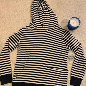 J. Crew striped hoodie sweater navy off white